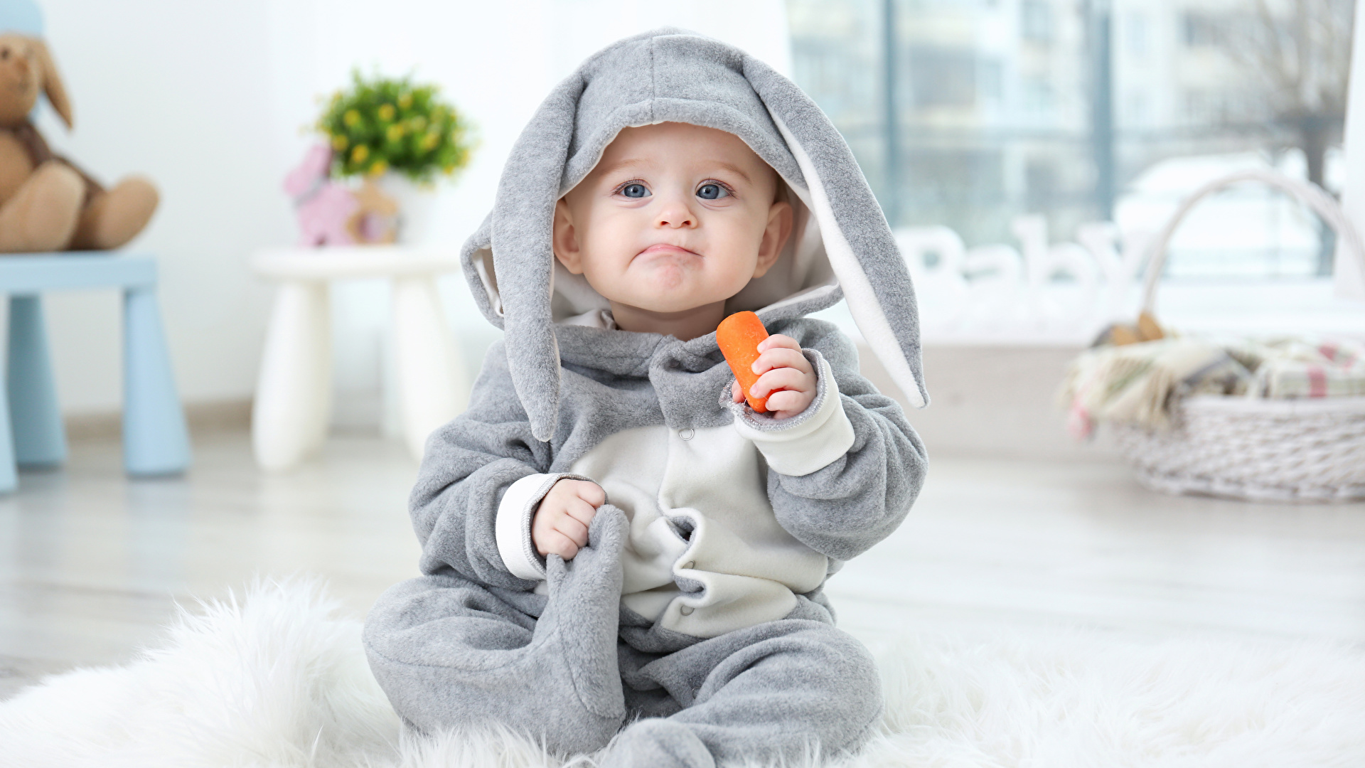 Fotos Ostern Baby Kaninchen Kinder Mohrrübe Uniform 1920x1080