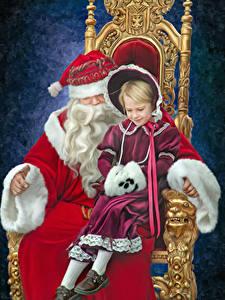 Hintergrundbilder Neujahr Kleine Mädchen Weihnachtsmann Thron Zwei Sitzend Kinder