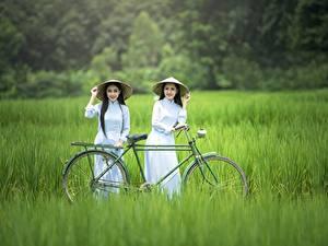 Hintergrundbilder Asiatisches Gras Der Hut Brünette Zwei Fahrrad junge Frauen