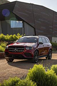 Fotos Mercedes-Benz Rot Metallisch 2020 GLS 580 4MATIC AMG Line Autos