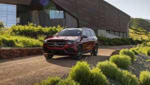 Fotos Mercedes-Benz Rot Metallisch 2020 GLS 580 4MATIC AMG Line Autos