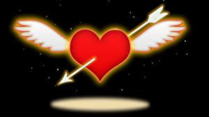 Papéis de parede Dia dos Namorados Fundo preto Coração Asa Flechas