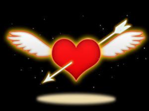 Fotos Valentinstag Schwarzer Hintergrund Herz Flügel Pfeil
