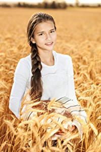 Hintergrundbilder Kleine Mädchen Ähre Starren Braunhaarige Zopf Mädchens