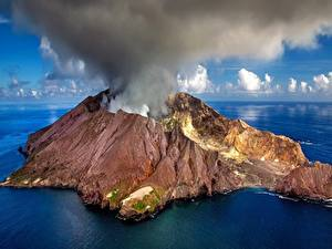 Pictures New Zealand Island Volcano Smoke White Island Nature