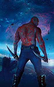 Bilder Guardians of the Galaxy Mann Messer Hinten Außerirdische Rücken Drax Film