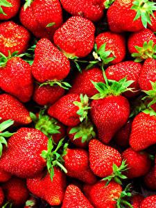 Fotos Textur Beere Erdbeeren Großansicht das Essen