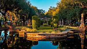 Hintergrundbilder USA Garten Teich Miami Design Strauch Bäume Vizcaya Museum and Gardens Natur