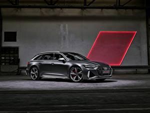 Hintergrundbilder Audi Graue Metallisch Seitlich Kombi RS 6 2020 2019 V8 Twin-Turbo Avant Autos
