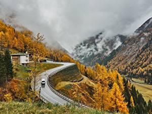 Bilder Österreich Berg Herbst Straße Alpen Nebel East Tyrol