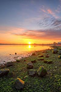 Bilder Irland Küste Steine Morgendämmerung und Sonnenuntergang Sonne Kinvara