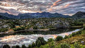 Hintergrundbilder Norwegen Berg Fluss Himmel Strauch HDR Kabelvaag Nordland