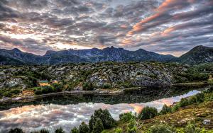 Hintergrundbilder Norwegen Gebirge Flusse Himmel Strauch HDR Kabelvaag Nordland Natur