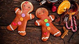 Bilder Neujahr Kekse Süßware Sternanis Zimt Design