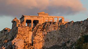 デスクトップの壁紙、、廃墟、夕、ギリシャ、雲、月、Athenian Acropolis, Athens、都市