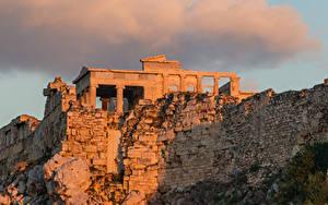 デスクトップの壁紙、、廃墟、夕、ギリシャ、雲、月、Athenian Acropolis, Athens、
