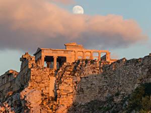 Fotos Ruinen Abend Griechenland Wolke Mond Athenian Acropolis, Athens