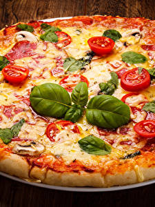 Pictures Fast food Pizza Tomatoes Boards Leaf Basil