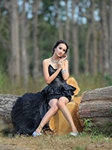 Images Asiatic Trunk tree Brunette girl Frock Sit Legs