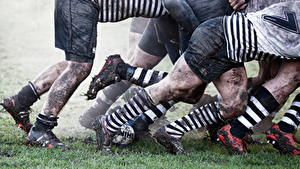Bilder Mann Schlamm Bein Shorts Long Socken Sportschuhe rugby Sport
