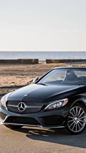 Hintergrundbilder Mercedes-Benz Schwarz Cabriolet Metallisch 2017 C 300 4MATIC AMG Line Autos