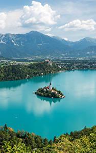 Fotos Slowenien Landschaftsfotografie See Insel Berg Bled