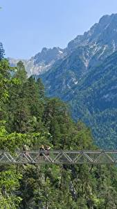 Wallpaper Germany Mountains Bridges Bavaria Mittenwald, Gorge Of Leutasch Nature