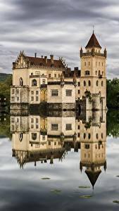 Pictures Salzburg Austria Pond Castles Reflection Castle Anif Cities
