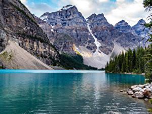 Hintergrundbilder Kanada Park Berg See Steine Banff Lake Moraine
