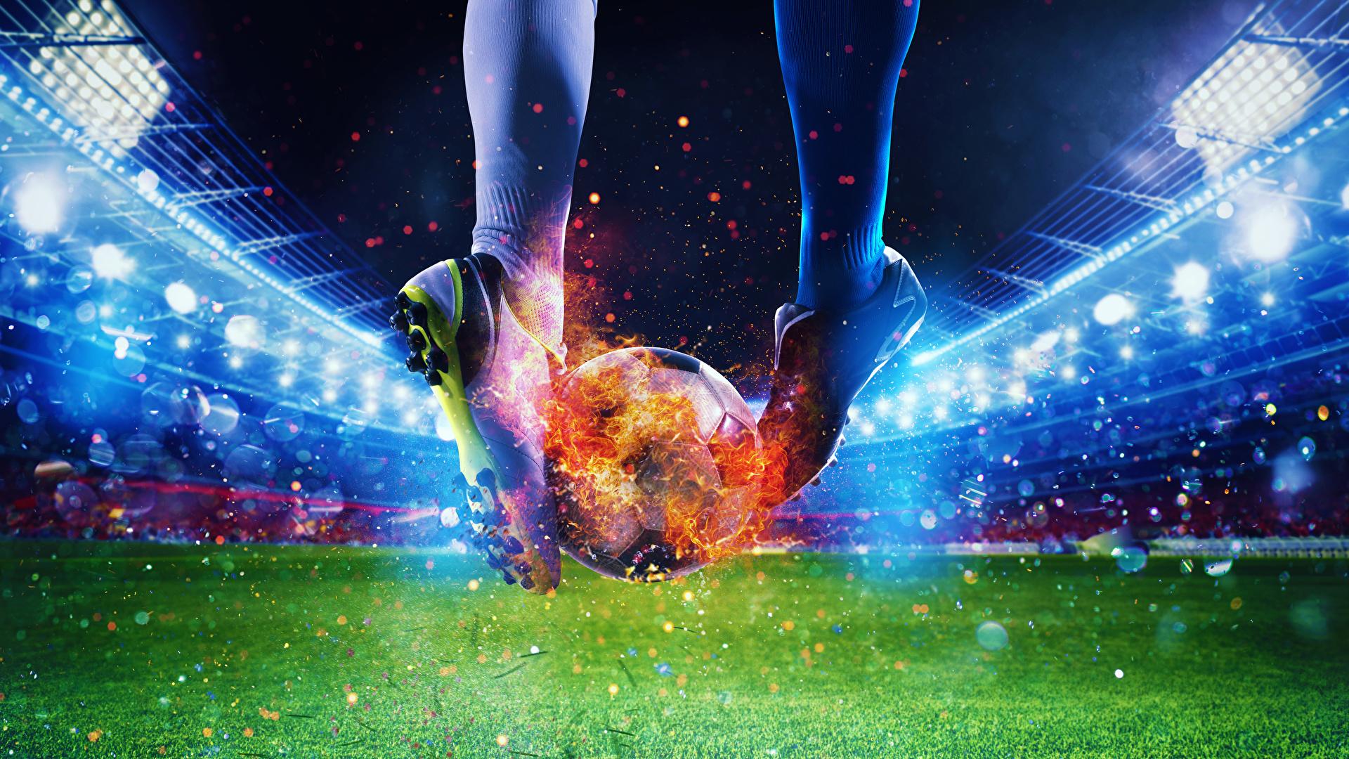 Fotos von Sport Fußball sportschuhe Bein Feuer Stadion 1920x1080