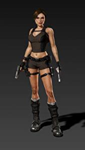 Bilder Tomb Raider Underworld Pistolen Lara Croft Mädchens 3D-Grafik