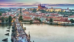 Wallpaper Czech Republic Prague Evening Building Bridges Rivers Cities