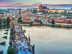 Wallpaper Czech Republic Prague Evening Building Bridges Rivers Cities