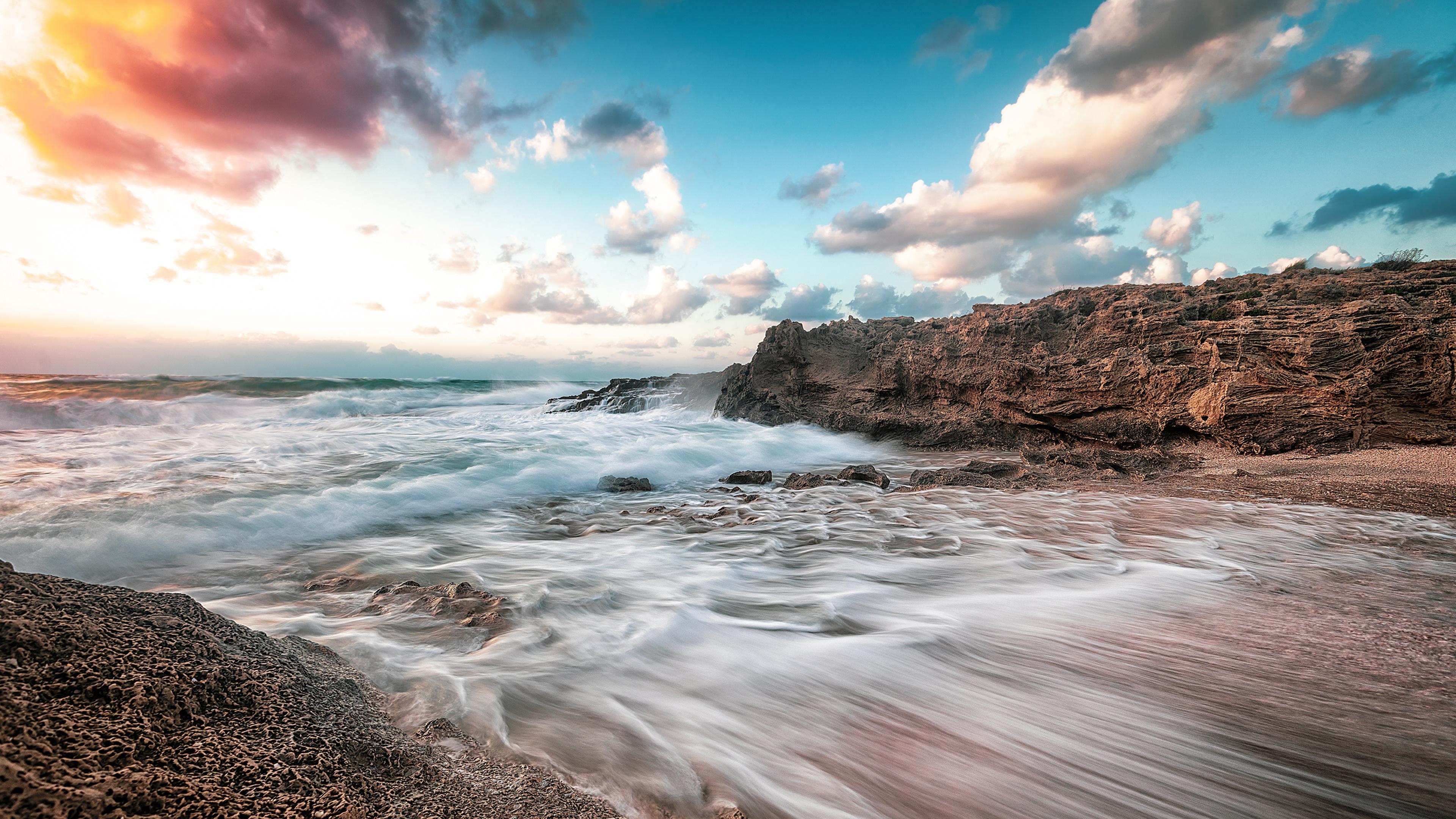 Bilder Israel Haifa Natur Himmel Wasserwelle Küste Wolke 3840x2160