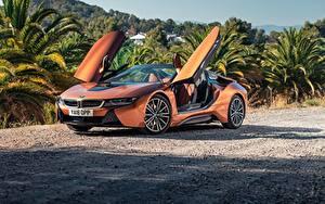 Hintergrundbilder BMW Orange Roadster 2018 i8