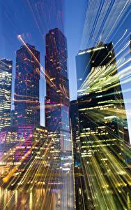 Fotos Moskau Russland Haus Wolkenkratzer Lichtstrahl Städte