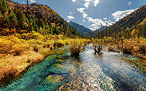 Sfondi desktop Valle del Jiuzhaigou Cina Parchi Fiumi Montagne Autunno Paesaggio Natura
