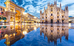 Wallpapers Italy Reflection Puddle Street Arch Town square Duomo Milan Cities