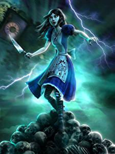 Hintergrundbilder Alice Messer Blitz Kleid Madness Spiele Fantasy