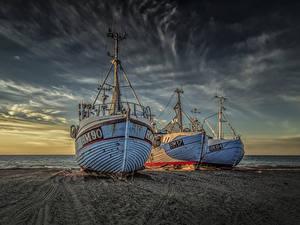 Fotos Dänemark Küste Sonnenaufgänge und Sonnenuntergänge Binnenschiff Drei 3 Sand Natur