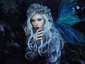 Bilder Feen Flügel Blondine Haar Kranz Bella Kotak, Jessica Dru, Violet dreams Fantasy Mädchens