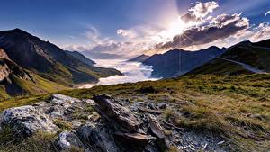 Hintergrundbilder Frankreich Sonnenaufgänge und Sonnenuntergänge Berg Steine Landschaftsfotografie Wolke La Mongie Midi-Pyrenees