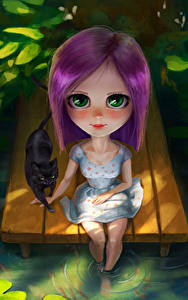 Hintergrundbilder Katze Blick Sitzend Kleine Mädchen Fantasy Kinder