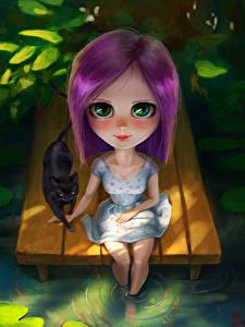 Hintergrundbilder Katze Starren Sitzend Kleine Mädchen Fantasy Kinder