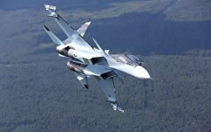 Hintergrundbilder Flugzeuge Jagdflugzeug Soukhoï Su-30 Russischer Su-30SM Luftfahrt