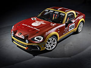Hintergrundbilder Abarth Fahrzeugtuning Grauer Hintergrund Rot 2016-17 124 rally Autos