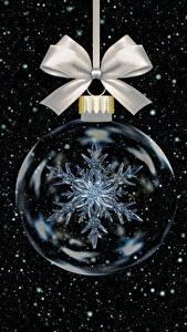 Hintergrundbilder Neujahr Kugeln Schneeflocken Schleife