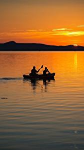 Images Hungary Sunrises and sunsets Lake Boats 2 Balaton lake Nature