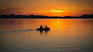 Hintergrundbilder Ungarn Morgendämmerung und Sonnenuntergang See Boot 2 Balaton lake Natur
