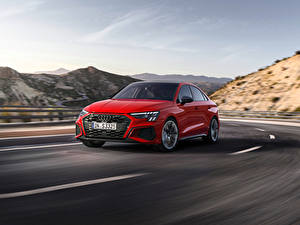Bilder Audi Straße Bewegung Rot Metallisch S3 Sedan, 2020 auto